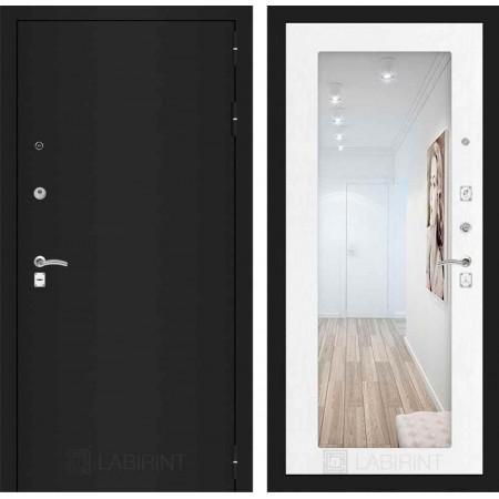 Входная дверь с зеркалом Лабиринт CLASSIC шагрень черная с Зеркалом 18 - Белое дерево (с шумоизоляцией)