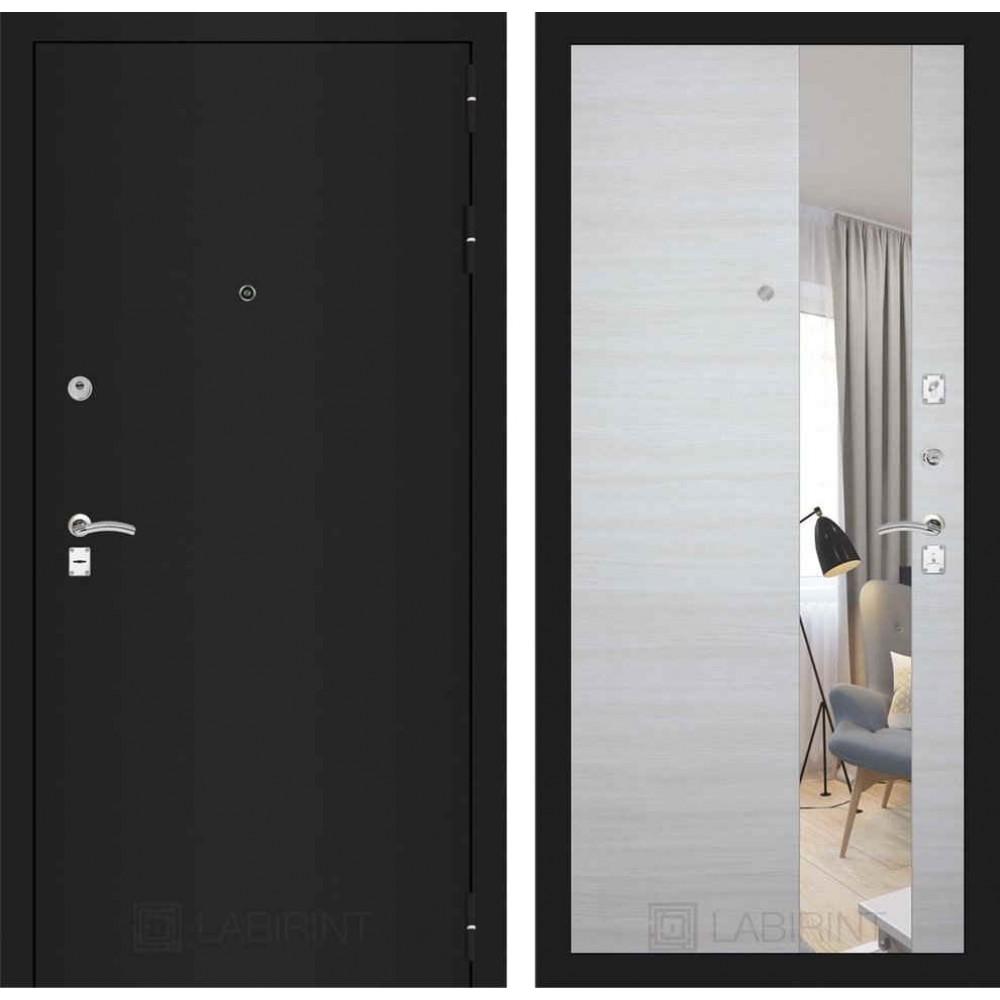 Дверь Лабиринт CLASSIC шагрень черная с Зеркалом - Акация светлая горизонтальная (с шумоизоляцией)