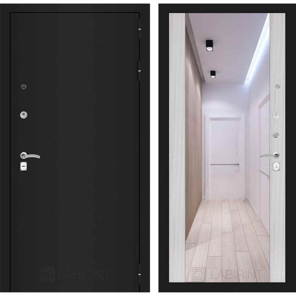Входная дверь Лабиринт CLASSIC шагрень черная с Зеркалом Максимум - Сандал белый (с шумоизоляцией)