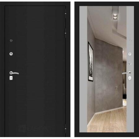 Входная дверь Лабиринт CLASSIC шагрень черная с Зеркалом Максимум - Софт Грей (с шумоизоляцией)
