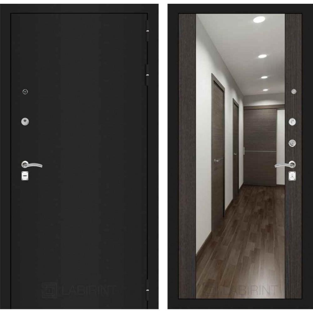 Входная дверь Лабиринт CLASSIC шагрень черная с Зеркалом Максимум - Венге (трехконтурные )