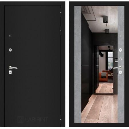 Входная дверь Лабиринт CLASSIC шагрень черная с Зеркалом Максимум - Бетон светлый