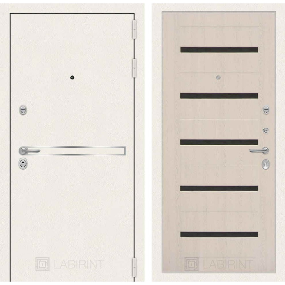 Входная дверь Лабиринт LINE WHITE 01 - Беленый дуб, стекло черное ( утепленные)