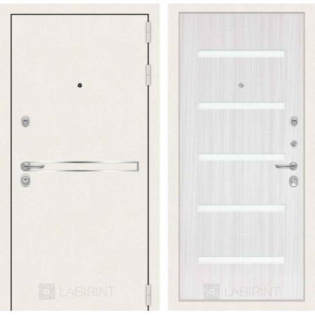 Входная дверь Лабиринт LINE WHITE 01 - Сандал белый, стекло белое (трехконтурные)