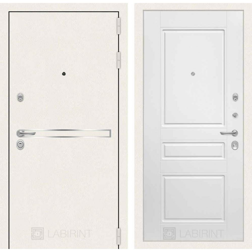 Входная дверь Лабиринт LINE WHITE 03 - Белый софт (трехконтурные)