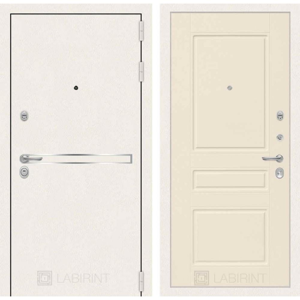 Входная дверь Лабиринт LINE WHITE 03 - Крем софт (трехконтурные)