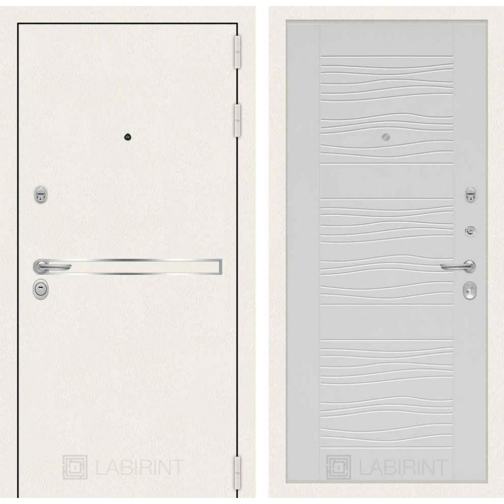 Входная дверь Лабиринт LINE WHITE 06 - Белое дерево (с шумоизоляцией)
