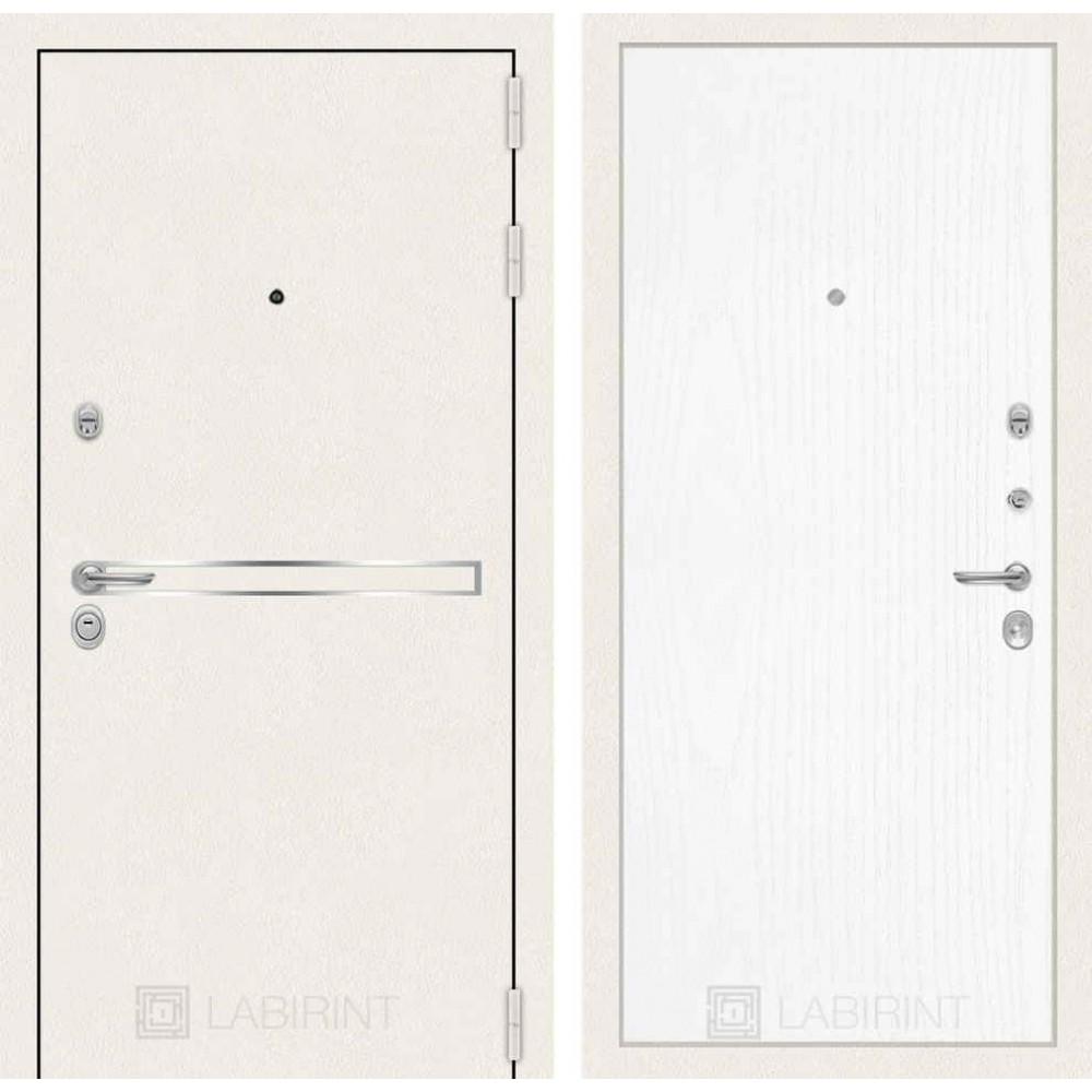 Входная дверь Лабиринт LINE WHITE 07 - Белое дерево (трехконтурные)