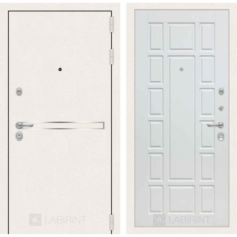Входная дверь Лабиринт LINE WHITE 12 - Белое дерево (утепленные)