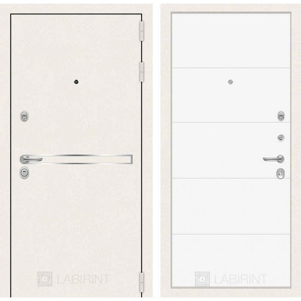 Входная дверь Лабиринт LINE WHITE 13 - Белый софт (трехконтурные)