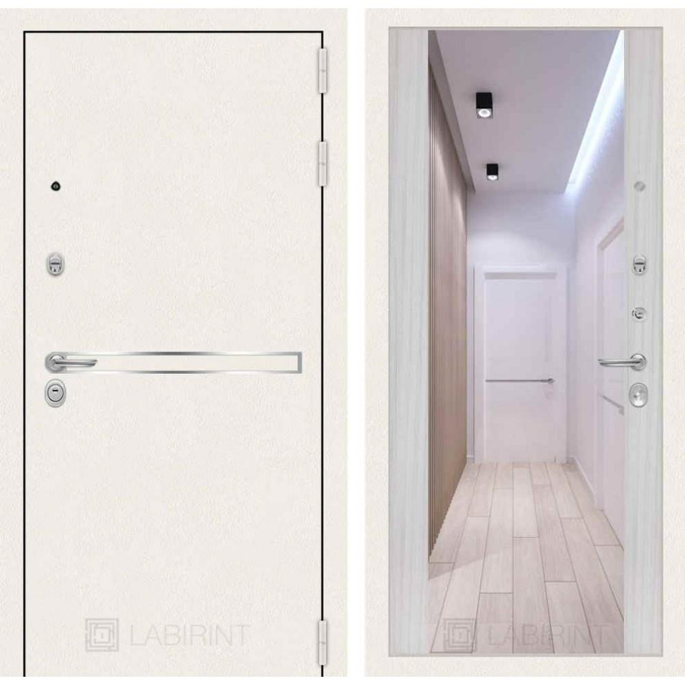 Входная дверь Лабиринт LINE WHITE с широким зеркалом - Сандал белый (трехконтурные)