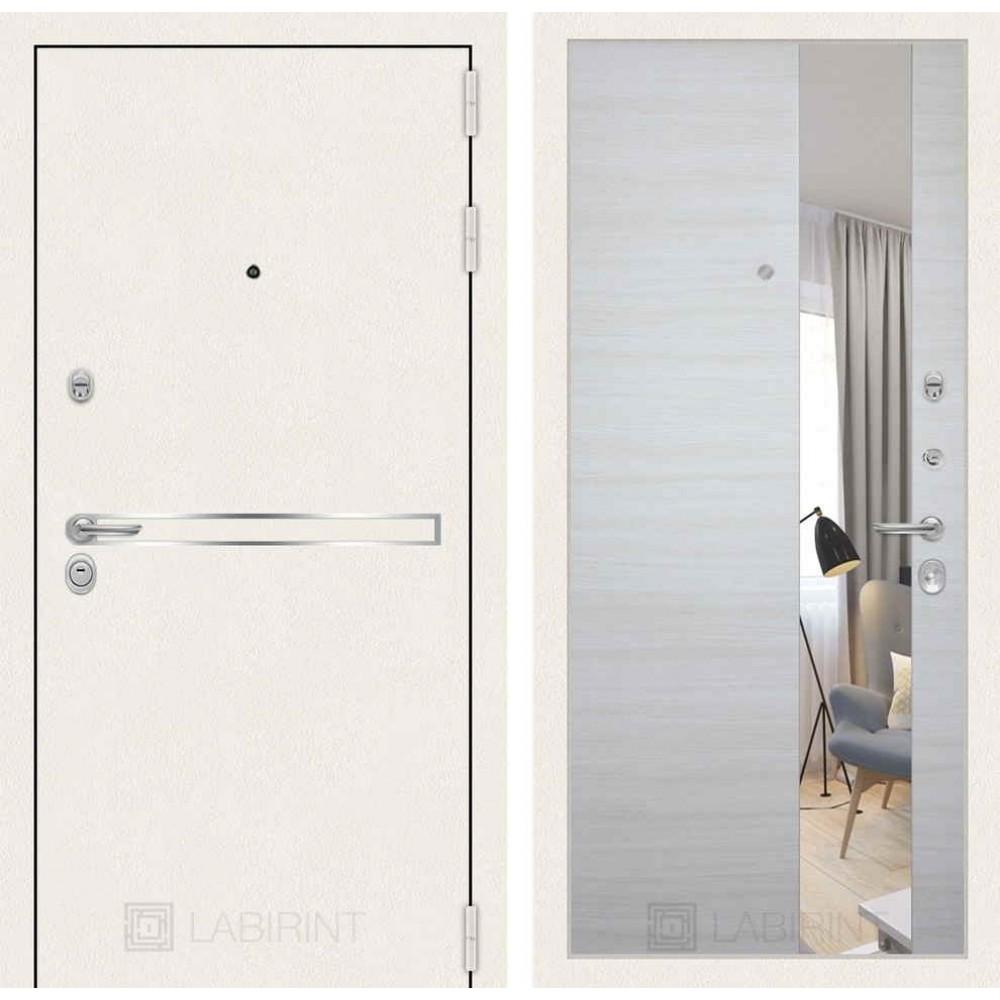 Входная дверь Лабиринт LINE WHITE с Зеркалом - Акация светлая горизонтальная (антивандальные)