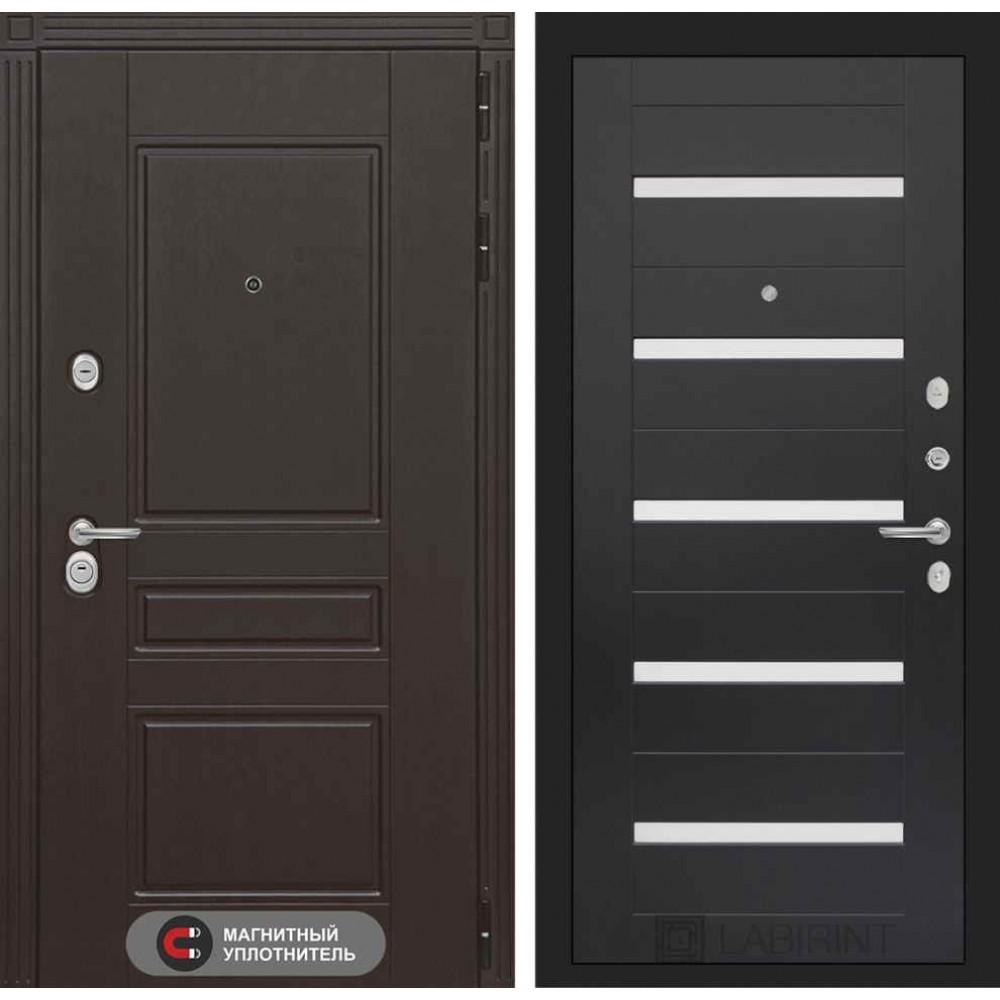 Входная дверь Лабиринт МЕГАПОЛИС 01 - Венге, стекло белое (утепленные)