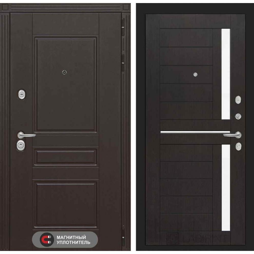 Входная дверь Лабиринт МЕГАПОЛИС 02 - Венге, стекло белое (трехконтурные )