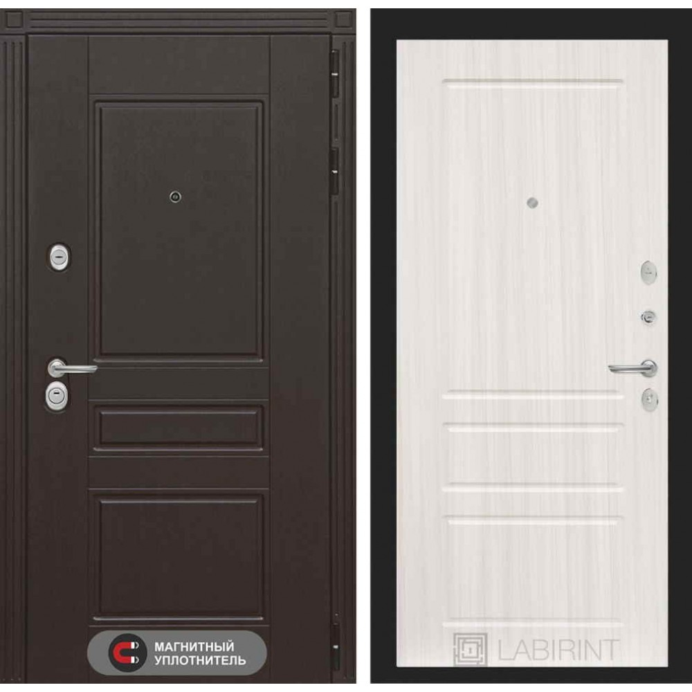 Входная дверь Лабиринт МЕГАПОЛИС 03 - Сандал белый (с шумоизоляцией)