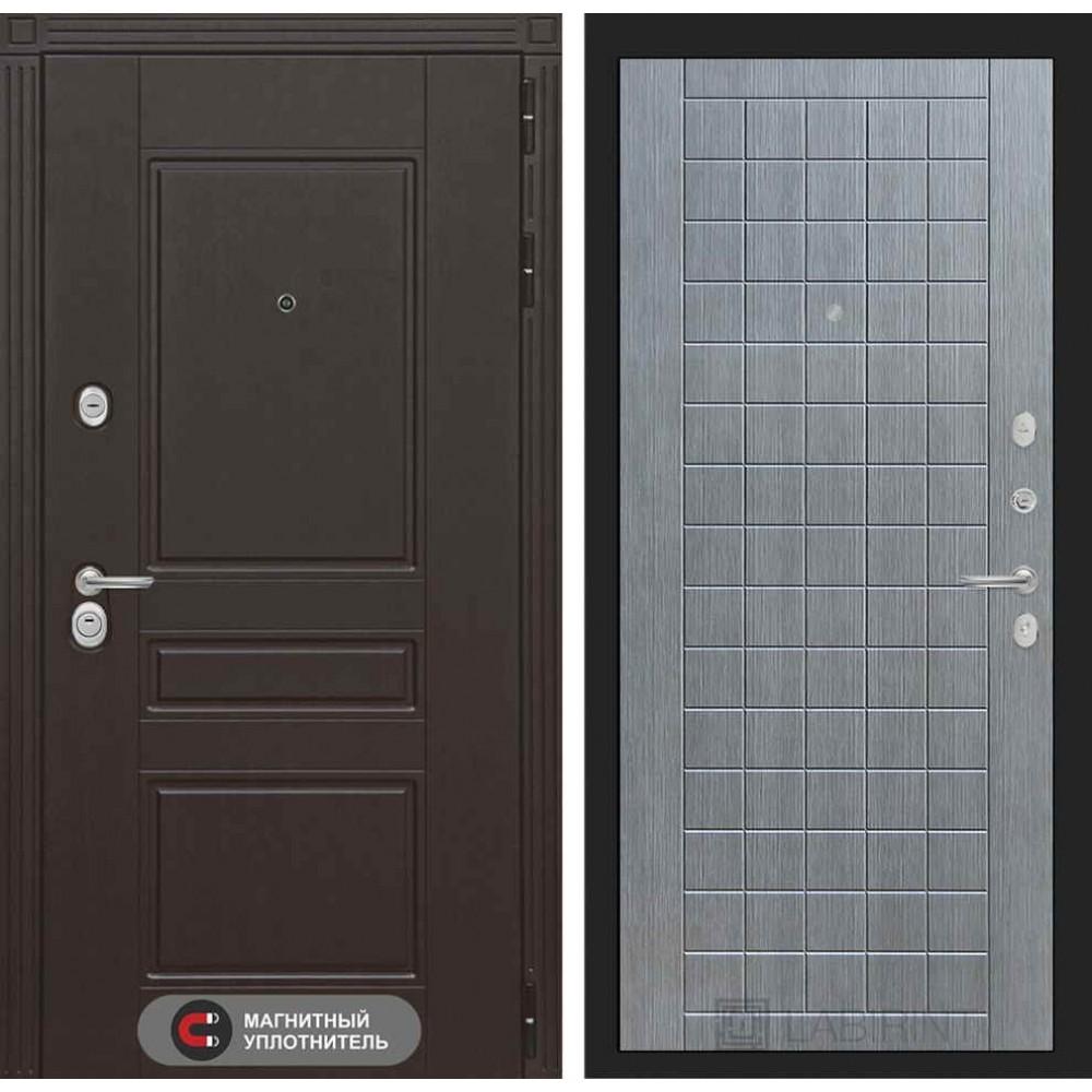 Входная дверь Лабиринт МЕГАПОЛИС 09 - Лен сильвер грей (трехконтурные)