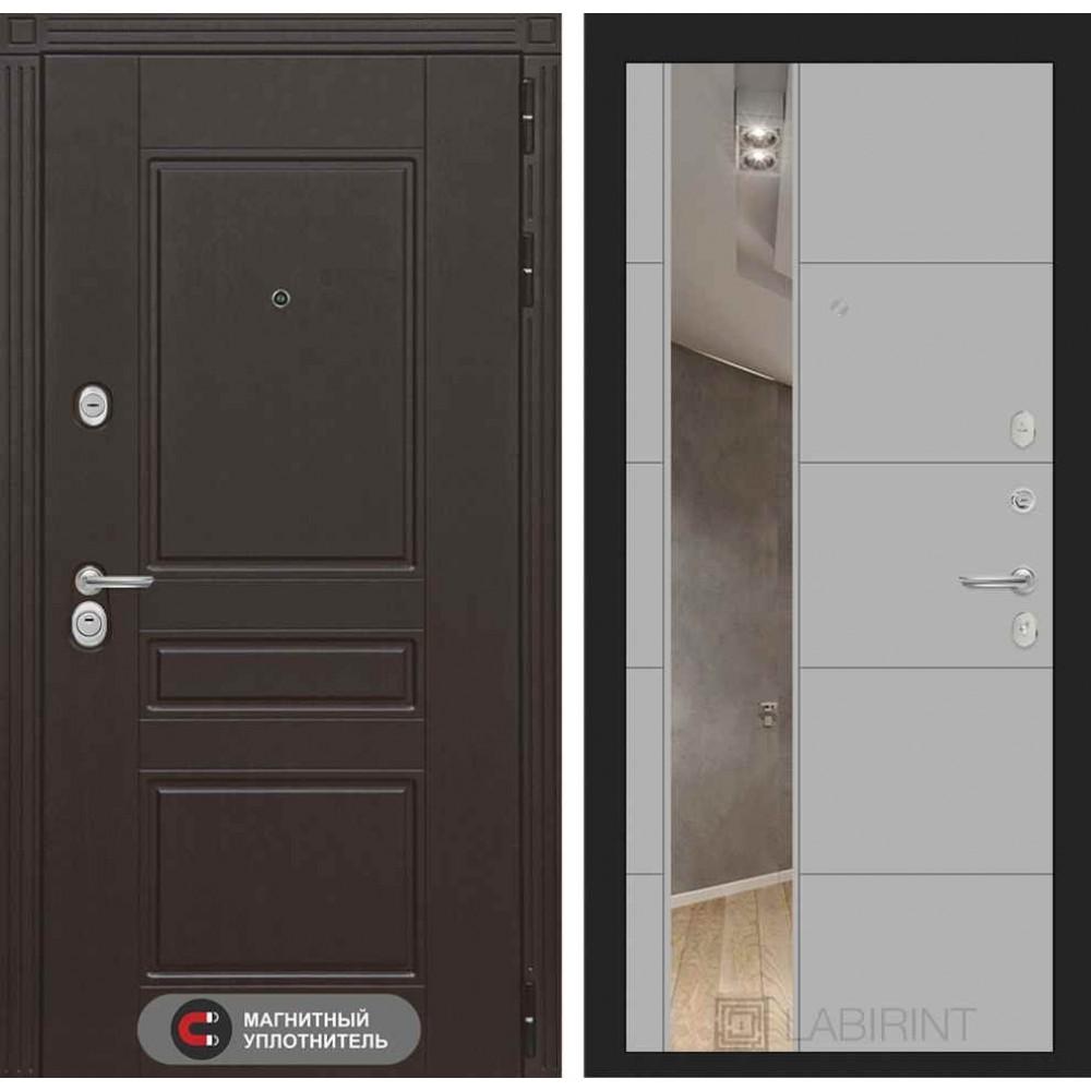 Входная дверь Лабиринт МЕГАПОЛИС с Зеркалом 19 - Грей софт ( с шумоизоляцией )