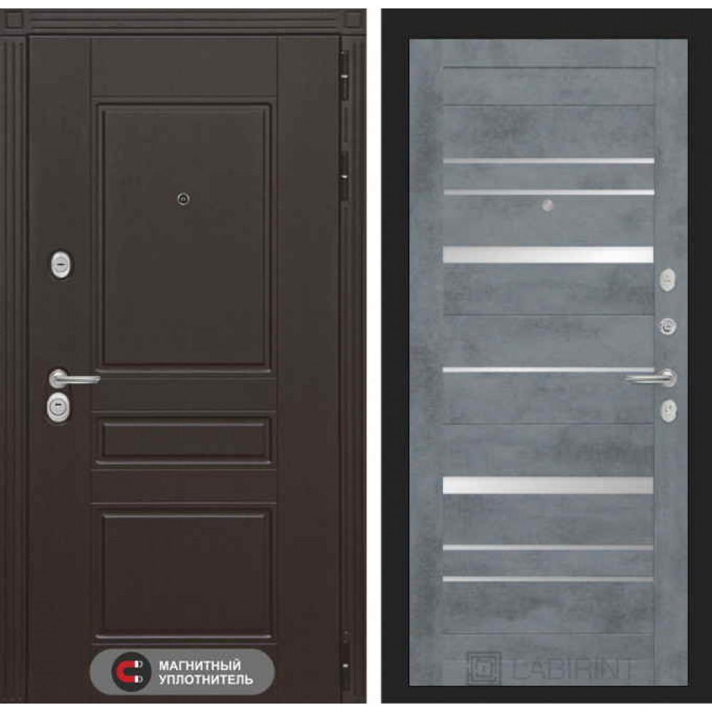 Входная дверь Лабиринт МЕГАПОЛИС  20 Бетон темный (утепленные)