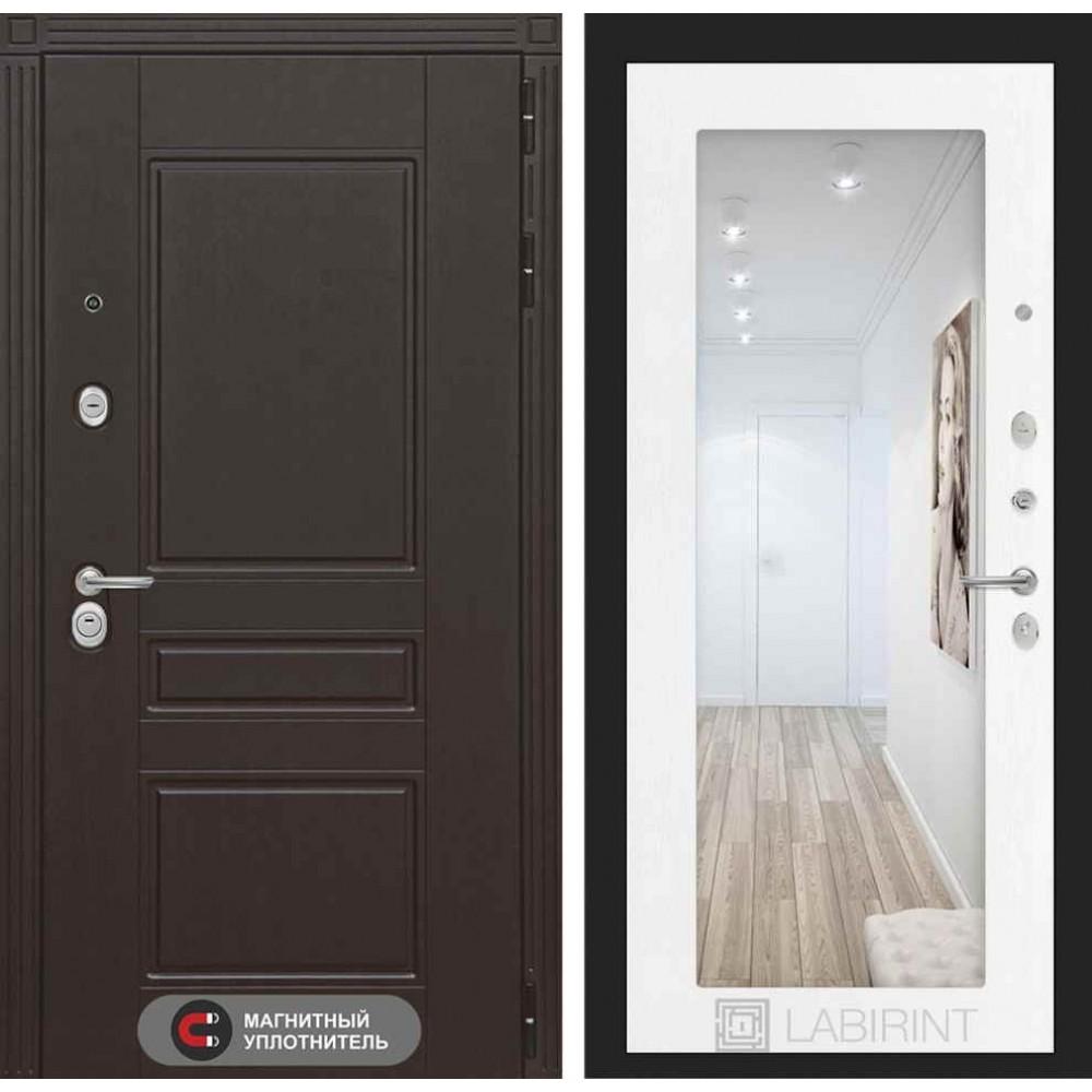 Входная дверь Лабиринт МЕГАПОЛИС с Зеркалом 18 - Белое дерево (с шумоизоляцией)