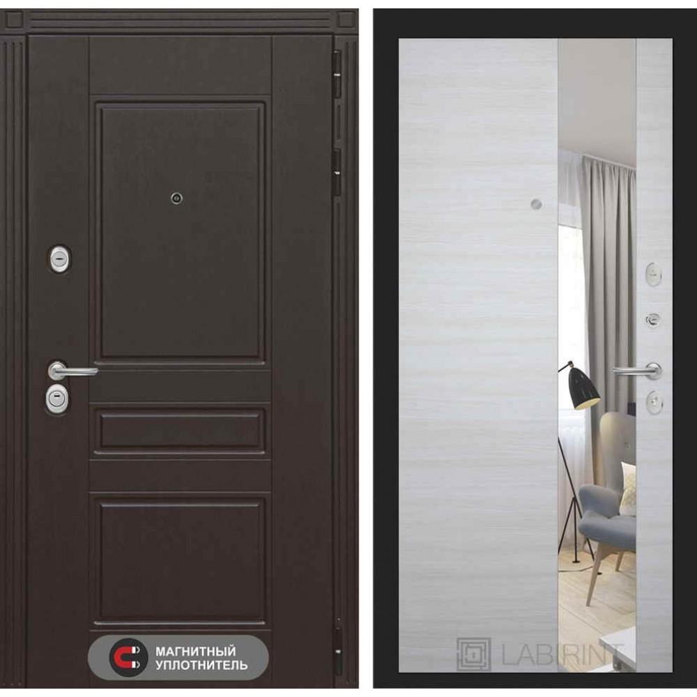 Входная дверь Лабиринт МЕГАПОЛИС с Зеркалом - Акация светлая горизонтальная (трехконтурные )