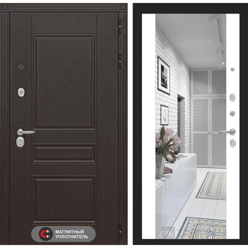 Входная дверь Лабиринт МЕГАПОЛИС с Зеркалом Максимум - Белый софт (трехконтурные )