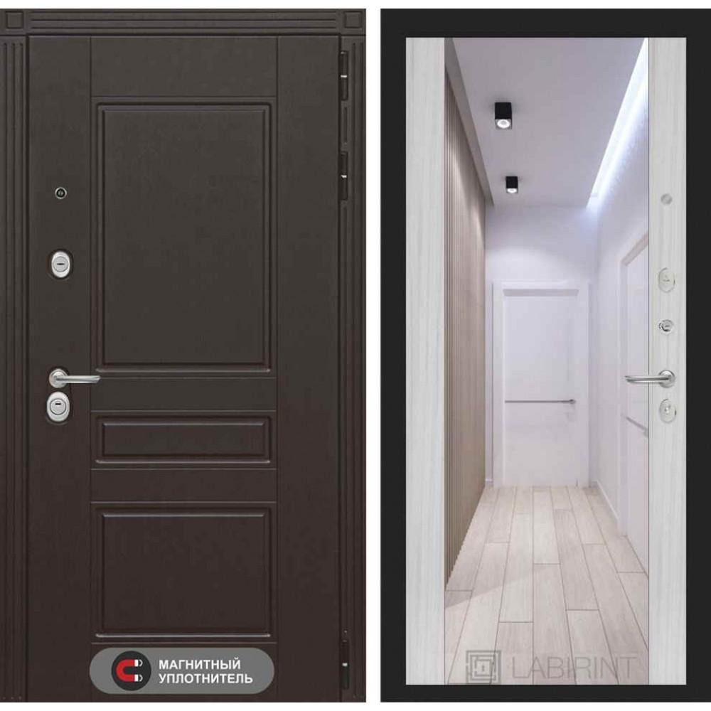 Входная дверь Лабиринт МЕГАПОЛИС с Зеркалом Максимум - Сандал белый (с шумоизоляцией)
