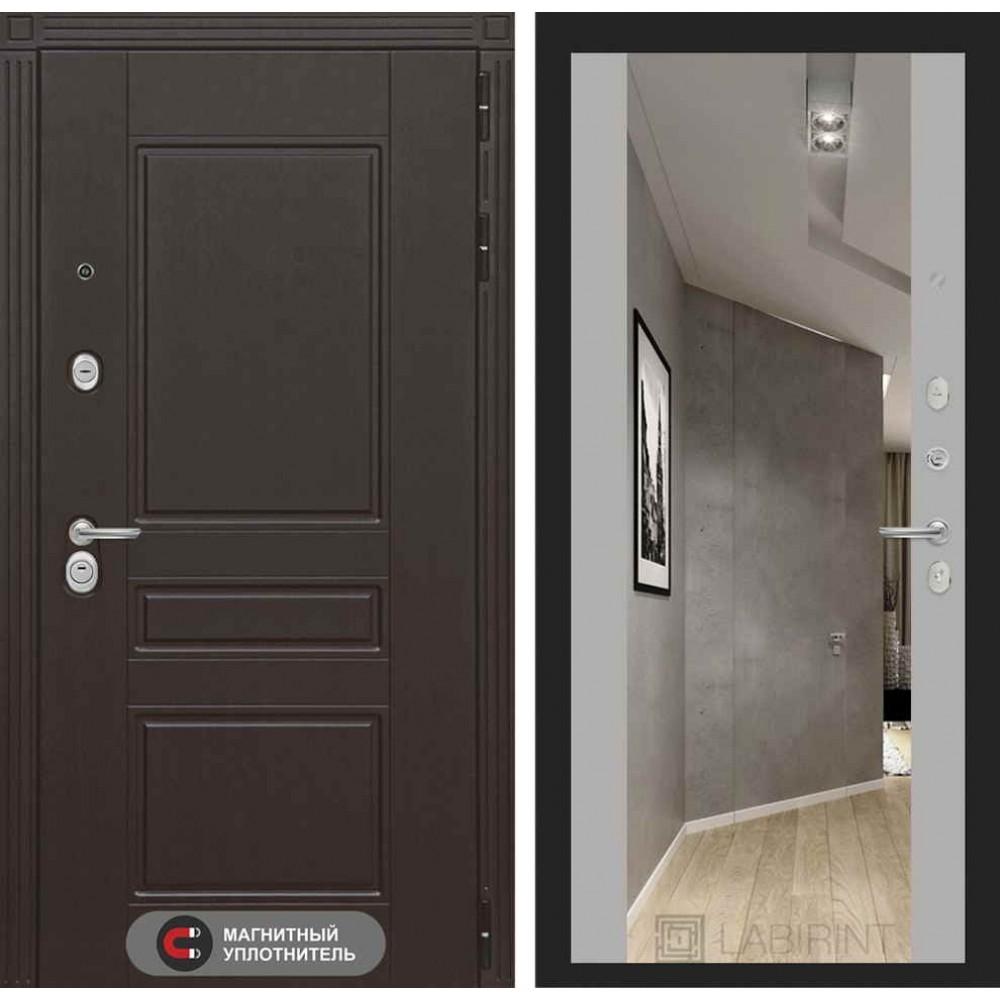 Входная дверь Лабиринт МЕГАПОЛИС с Зеркалом Максимум - Софт Грей (трехконтурные)