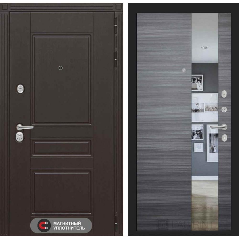 Входная дверь Лабиринт МЕГАПОЛИС с Зеркалом - Сандал серый горизонтальный (утепленные)