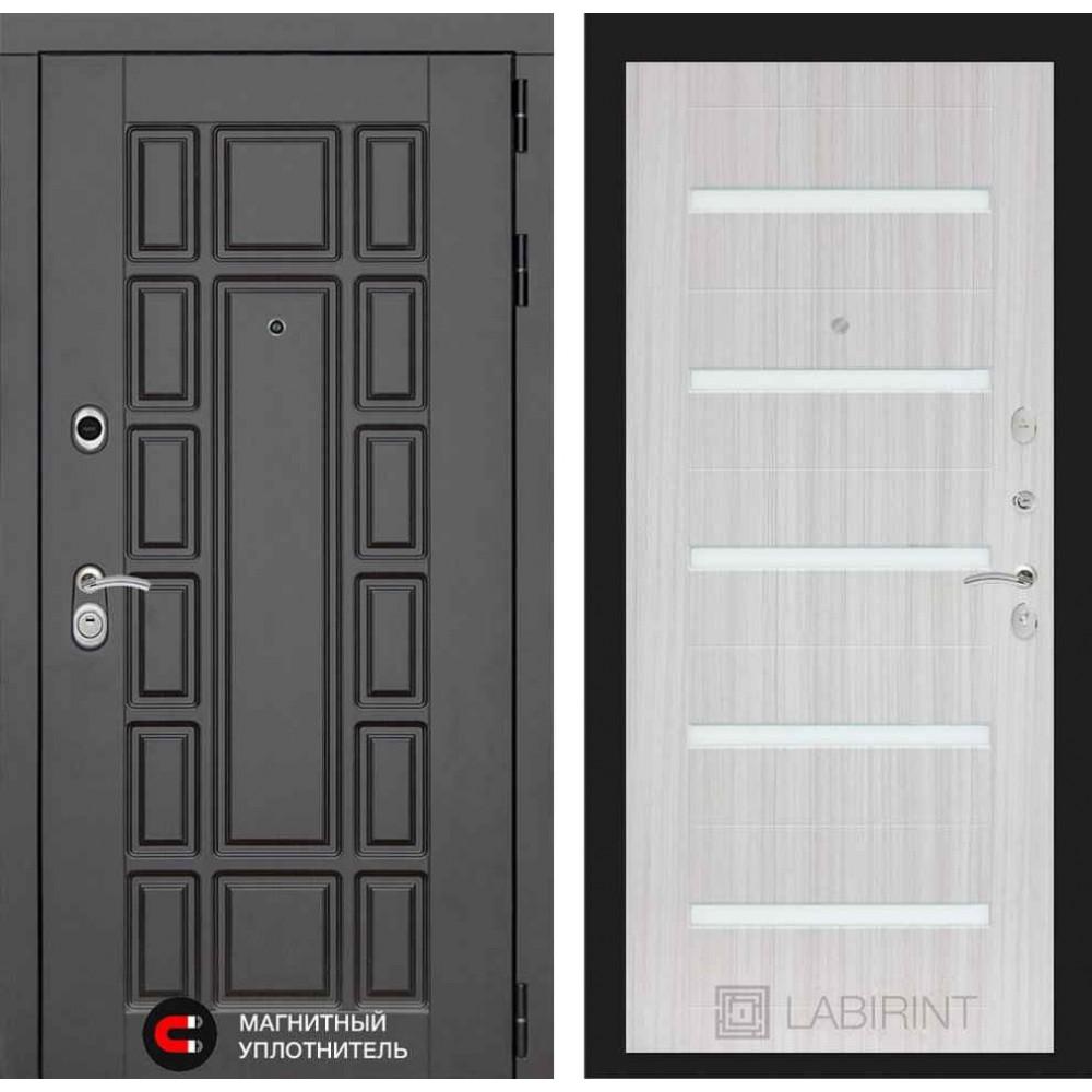 Входная дверь Лабиринт NEW YORK 01 - Сандал белый, стекло белое(с шумоизоляцией)