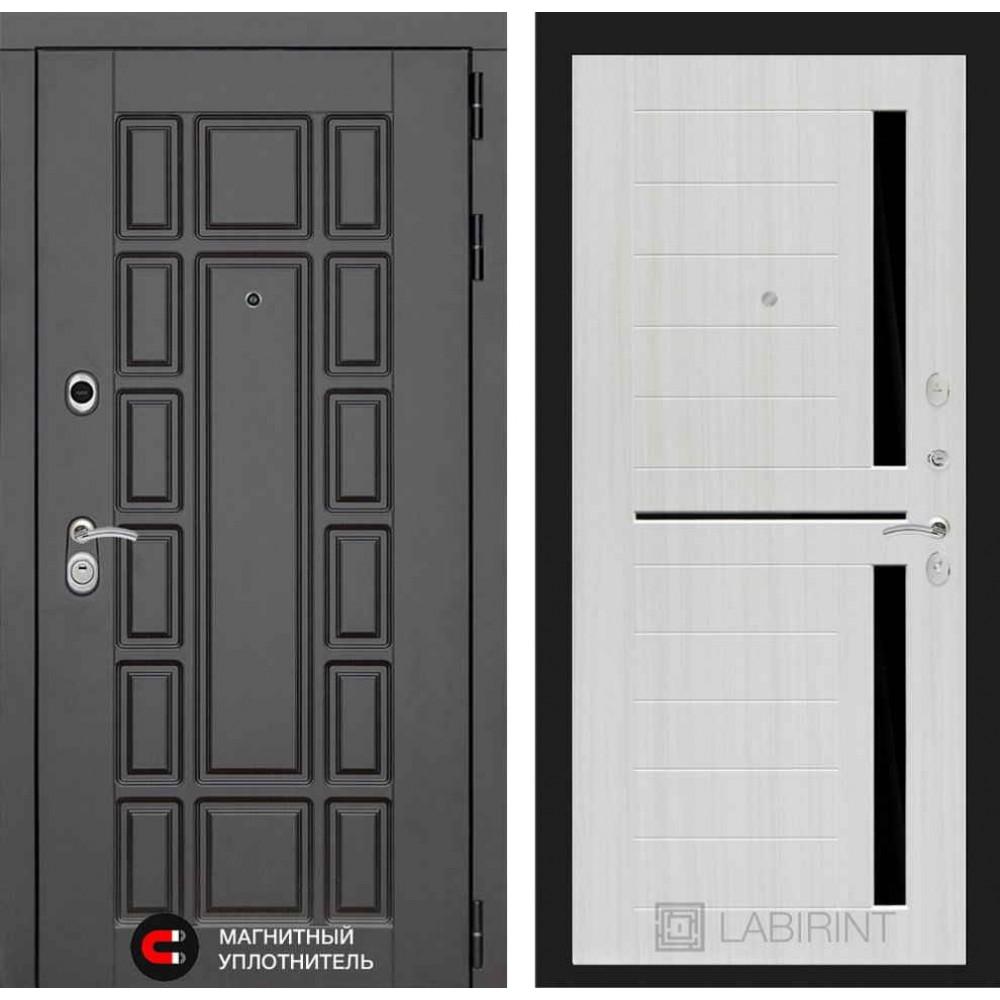 Входная дверь Лабиринт NEW YORK 02 - Сандал белый, стекло черное (с шумоизоляцией)