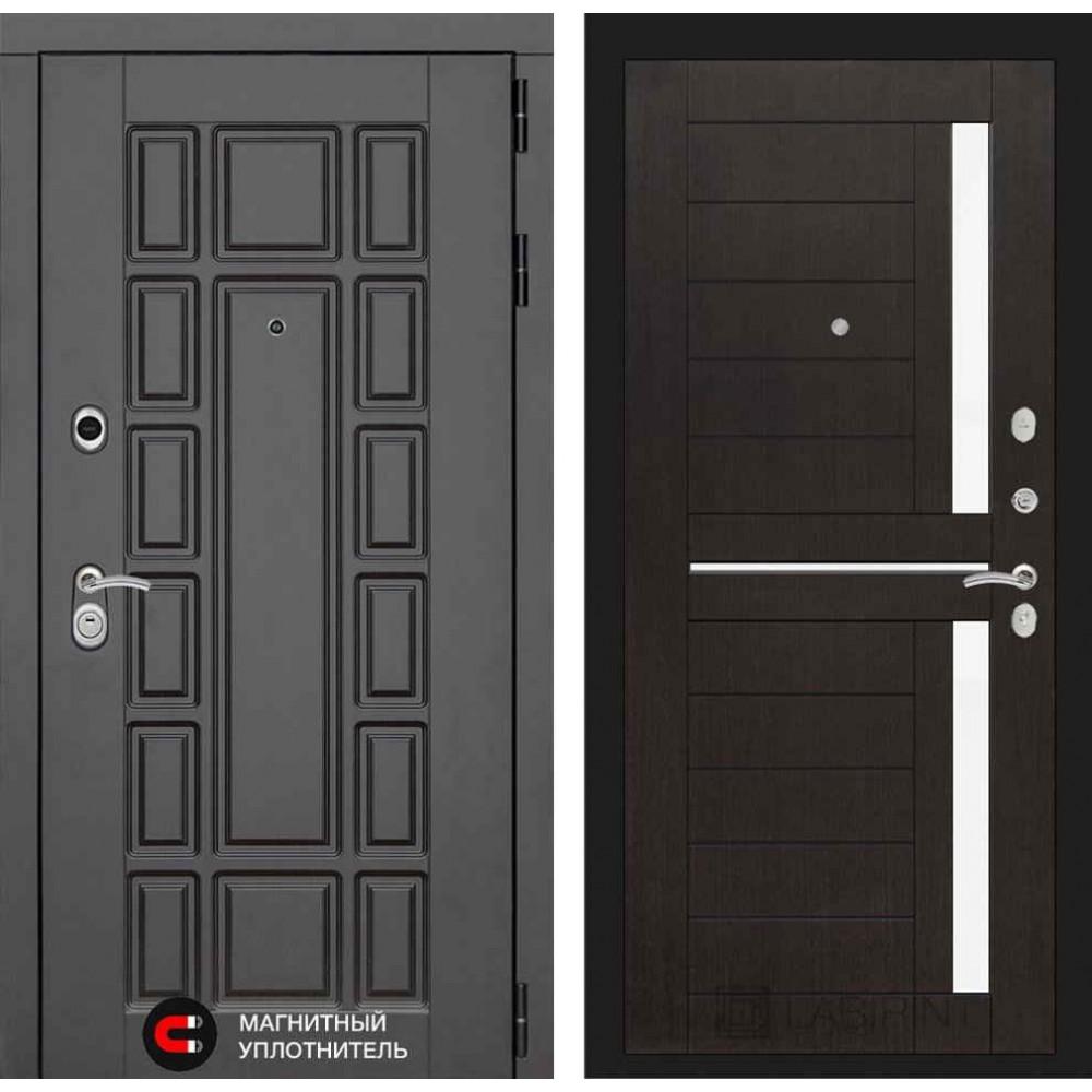Входная дверь Лабиринт NEW YORK 02 - Венге, стекло белое ( сейфовые)