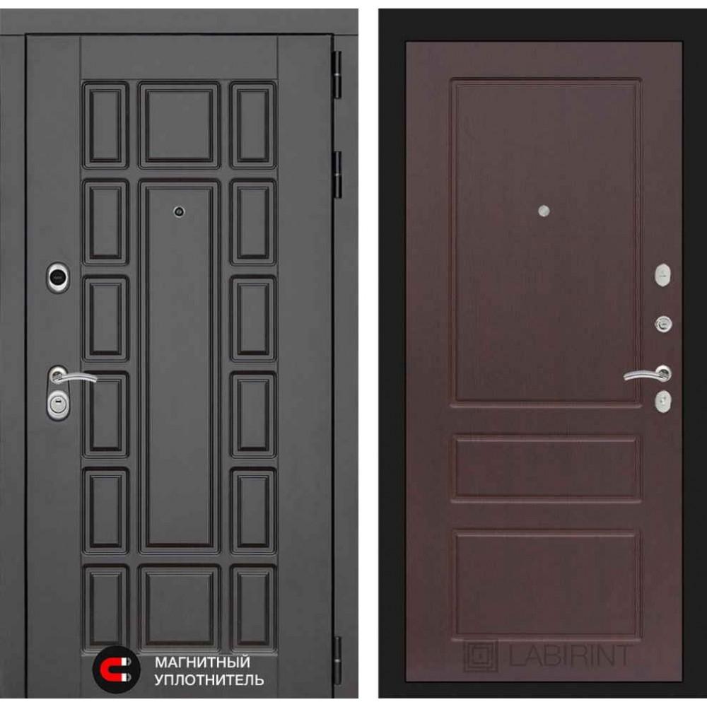 Входная дверь Лабиринт NEW YORK 03 - Орех премиум (трехконтурные)