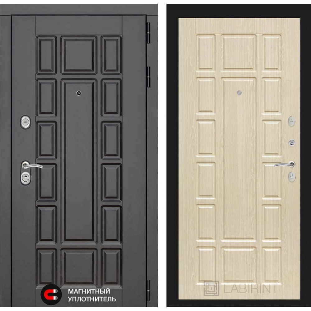 Входная дверь Лабиринт NEW YORK 12 - Беленый дуб (с шумоизоляцией)