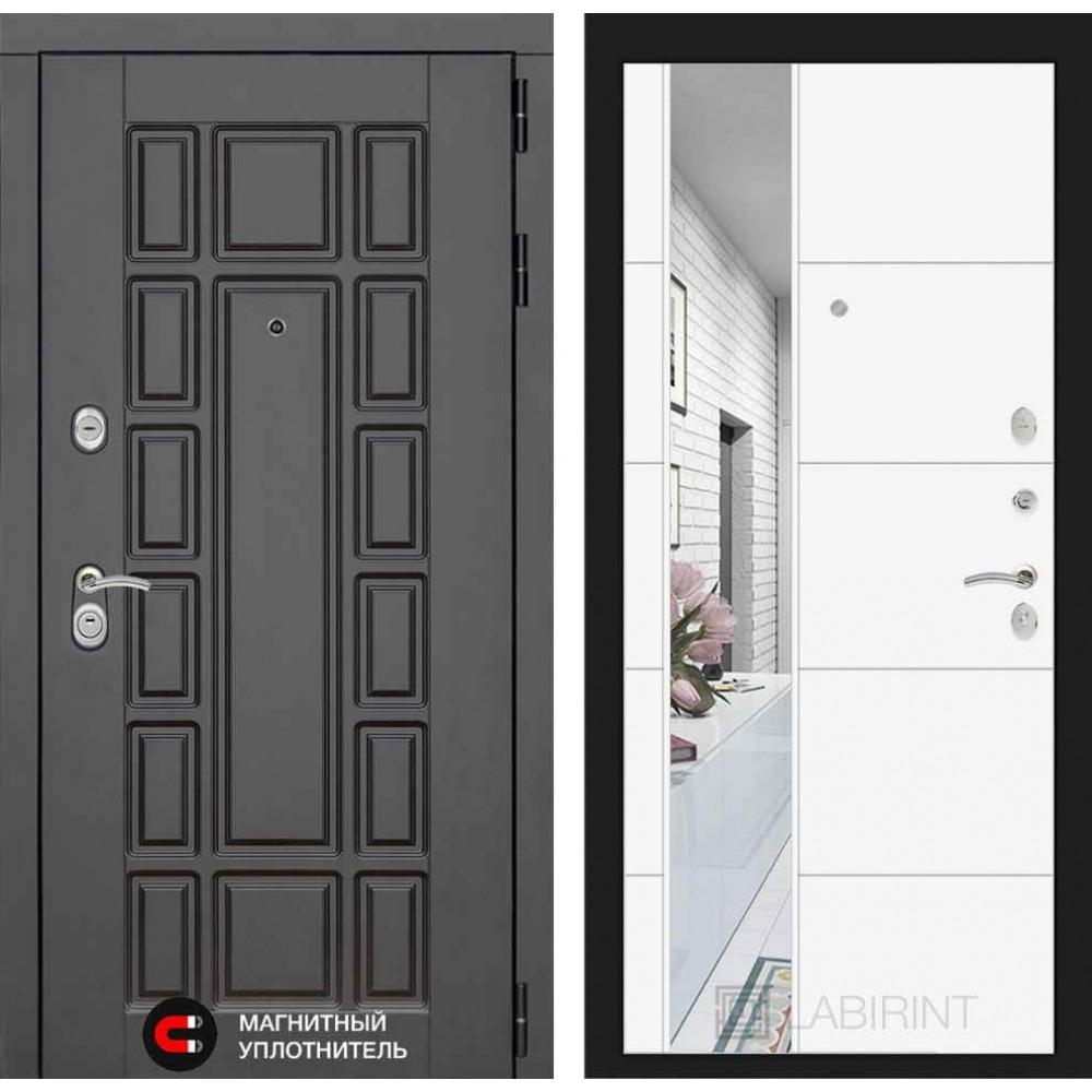 Входная дверь Лабиринт NEW YORK с Зеркалом 19 - Белый софт ( с шумоизоляцией )