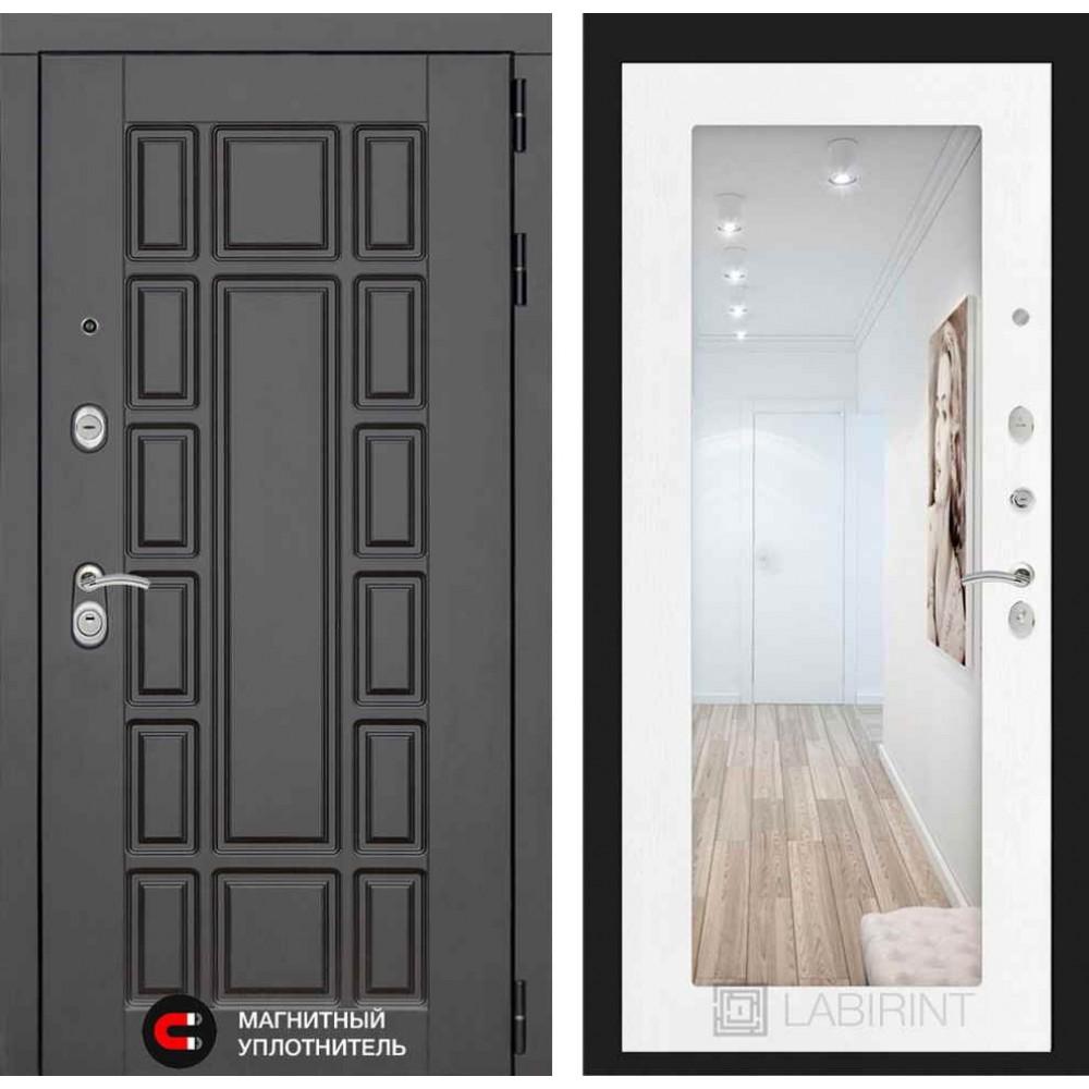Входная дверь Лабиринт NEW YORK с Зеркалом 18 - Белое дерево (с шумоизоляцией)