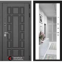 Входная дверь Лабиринт NEW YORK с Зеркалом Максимум - Белый софт (с шумоизоляцией)