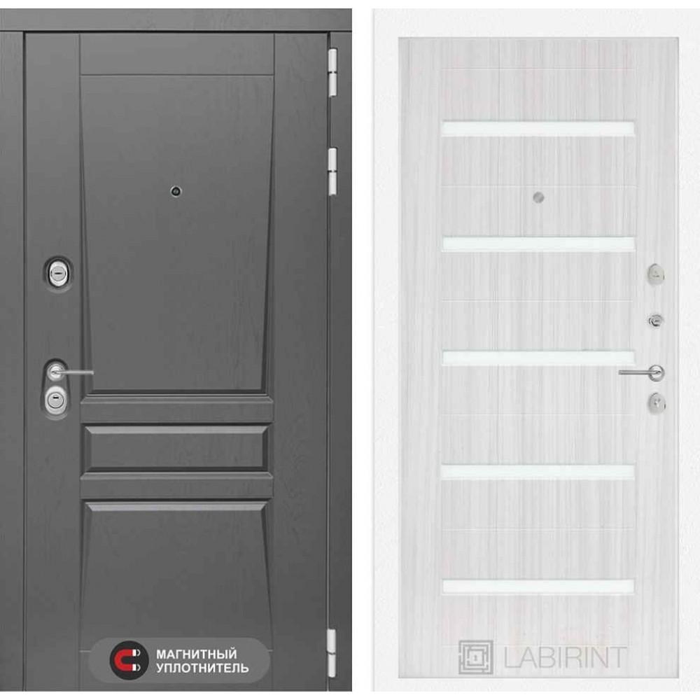 Входная дверь Лабиринт Платинум 01 - Сандал белый, стекло белое (с шумоизоляцией)