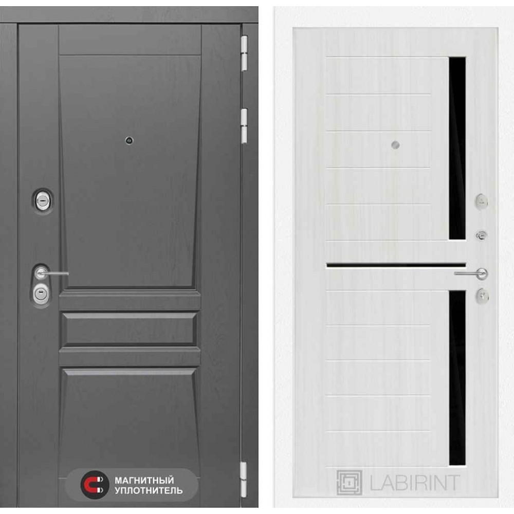 Входная дверь Лабиринт Платинум 02 - Сандал белый, стекло черное (трехконтурные)