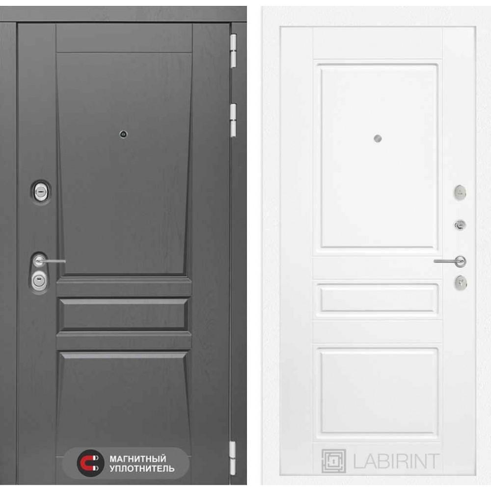 Входная дверь Лабиринт Платинум 03 - Белый софт (трехконтурные)
