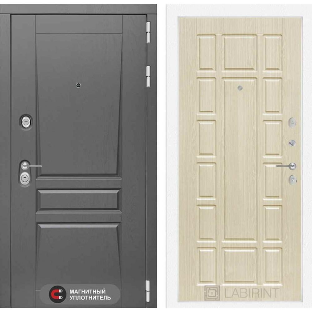 Входная дверь Лабиринт Платинум 12 - Беленый дуб (с шумоизоляцией)