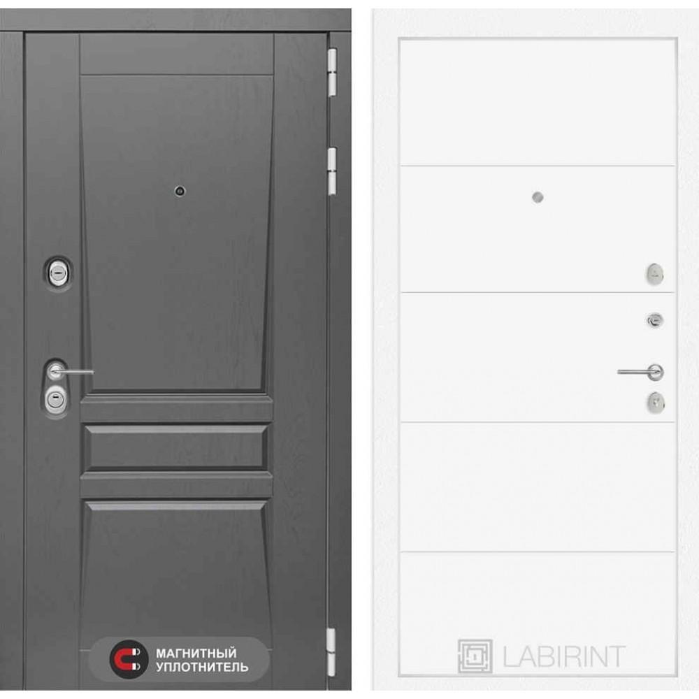 Входная дверь Лабиринт Платинум 13 - Белый софт (утепленные)