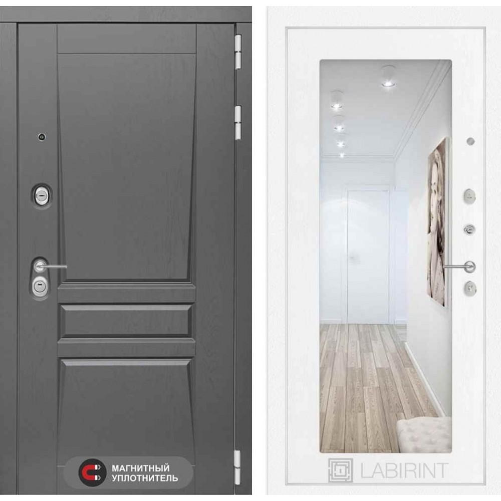 Входная дверь Лабиринт Платинум с Зеркалом 18 - Белое дерево (утепленные)