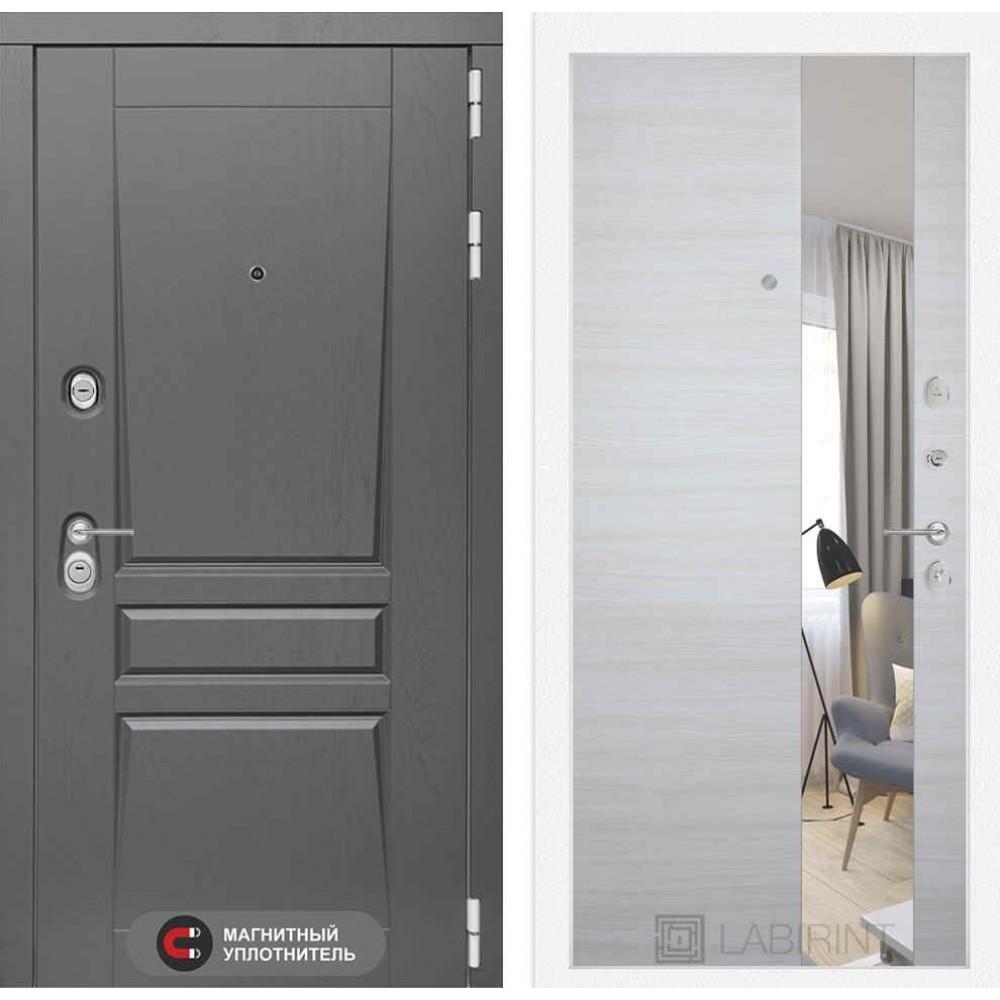 Входная дверь Лабиринт Платинум с Зеркалом - Акация светлая горизонтальная (трехконтурные)