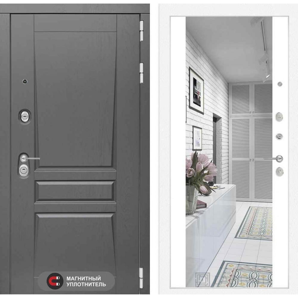Входная дверь Лабиринт Платинум с Зеркалом Максимум - Белый софт (трехконтурные)