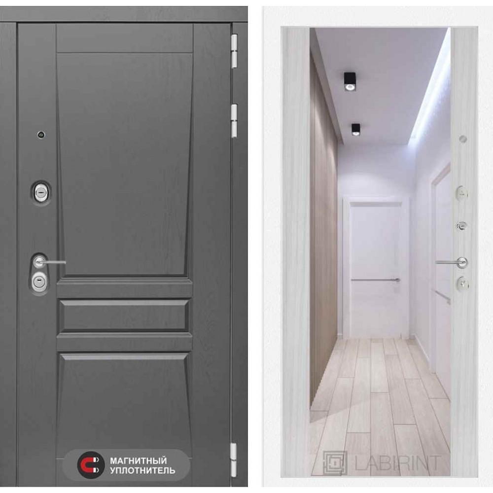 Входная дверь Лабиринт Платинум с Зеркалом Максимум - Сандал белый (утепленные)