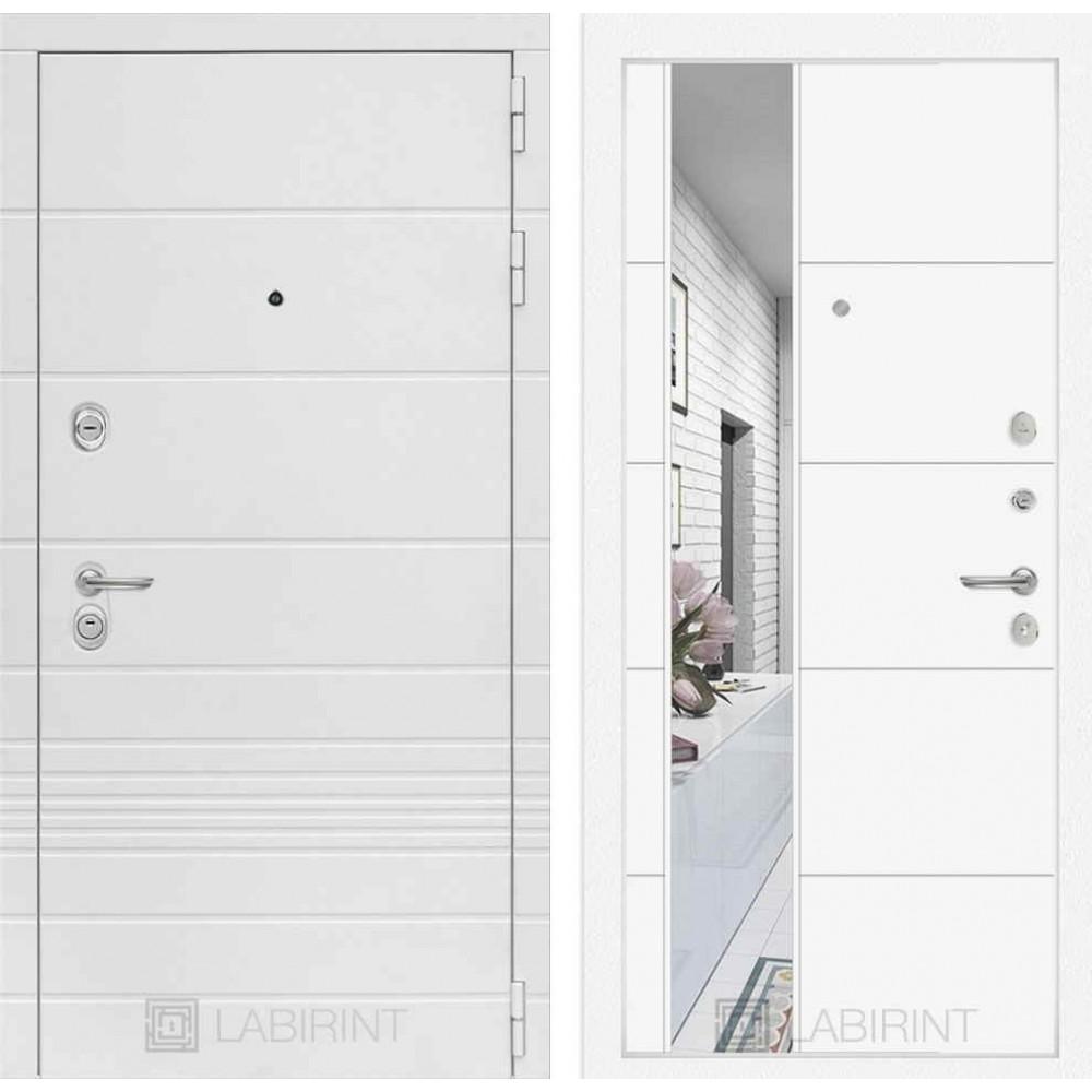 Входная дверь Лабиринт TRENDO с Зеркалом 19 - Белый софт (с шумоизоляцией)