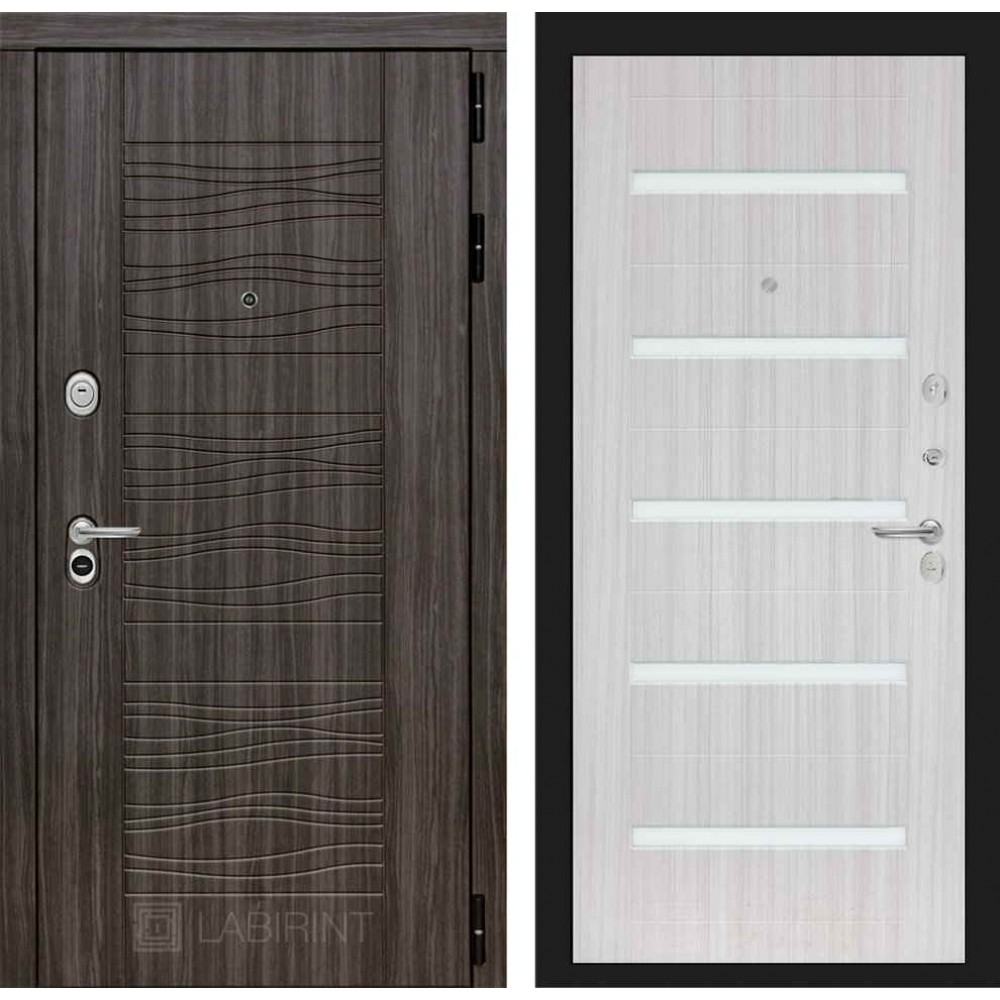 Входная дверь Лабиринт SCANDI Дарк грей 01 - Сандал белый (утепленные)