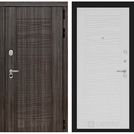 Входная дверь Лабиринт SCANDI Дарк грей 06 - Белое дерево (с шумоизоляцией)