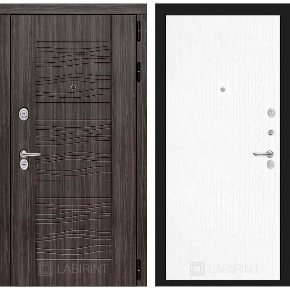 Входная дверь Лабиринт SCANDI Дарк грей 07 - Белое дерево (с шумоизоляцией)