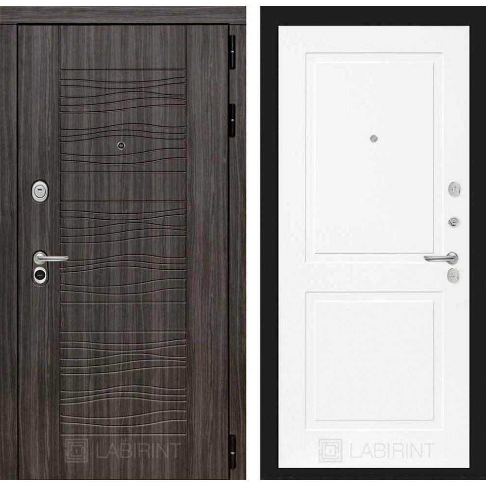 Входная дверь Лабиринт SCANDI Дарк грей 11 - Белый софт (трехконтурные)